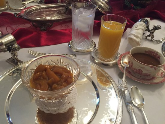 Columbus, MS: First Course for Breakfast - stewed almond peaches
