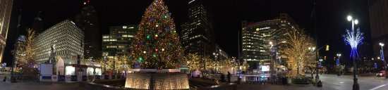 Campus Martius Park: Christmas Lights of Downtown Detroit. Panoramic view