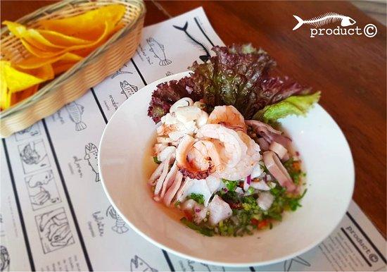 Santa Ana, Costa Rica: Exquisito Ceviche Product-C: Trozos de pescado fresco, calamar, pulpo y camarón.