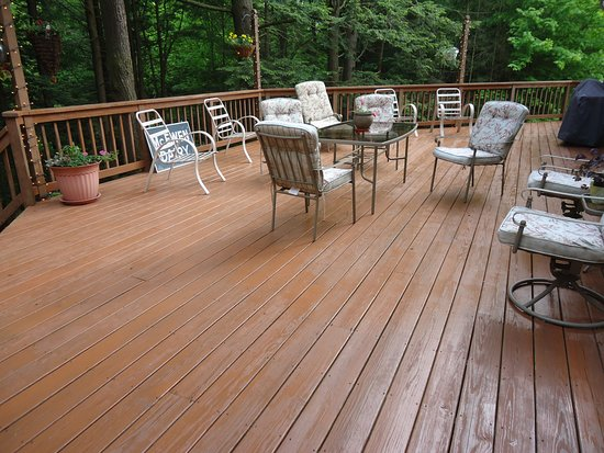 Fredonia, PA: Large deck overlooking hemlock-lined ravine with view of waterfall.