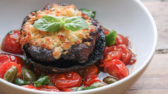 Three Abbey Green: Sausage gratin served on a portobello mushroom with roasted tomatoes
