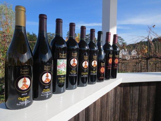 Los Gatos, CA: We grow 9 different varietals, all 100% estate grown here in the Santa Cruz mountains.