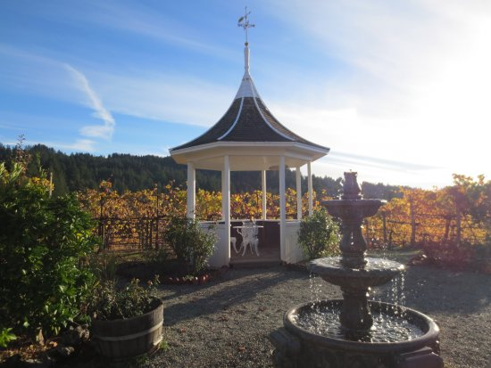 Los Gatos, CA: The lovely rose garden and gazebo you can reserve for you next private tasting or party.