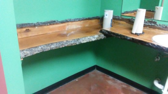 Danna's Barbeque & Burger Shop: The beautiful cedar counter top and hand painted mural in the ladies room