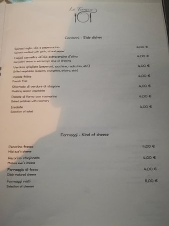 Ristorante La Terrasse: menù