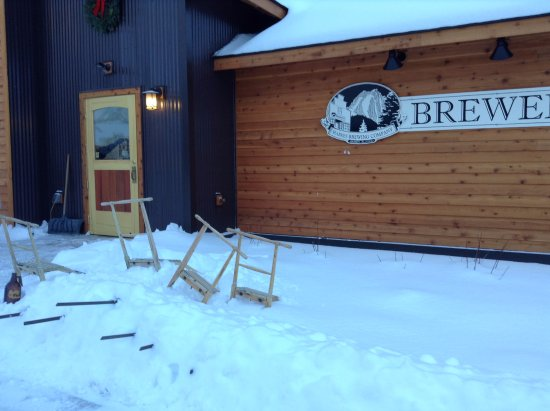 Haines, AK: Folks pulled out the kick sleds from the Ft. Seward days of old to ride down the hill for a brew