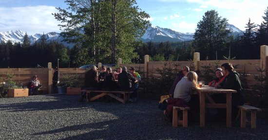 Haines, AK: Nothing like gathering with friends in the beer garden on a sunny day...
