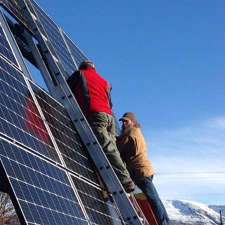 Haines, AK: Solar panels are now up and running! 32 panels are projected to cover 30-50% of our electrical u