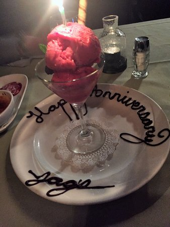 West Chester, OH: Raspberry Sorbet w/ frozen chocolate scrolling on plate