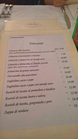 menù picture of ristorante da paolino pescocostanzo tripadvisor