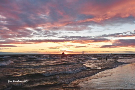 Sunset at Grand Haven Lighthouse and Pier.