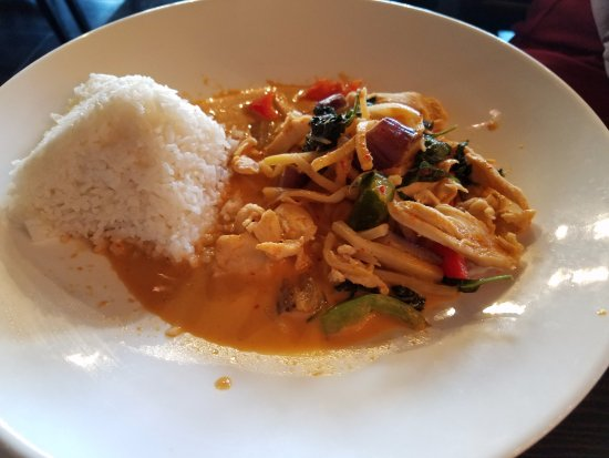 Rockville Centre, NY: Lunch special of chicken in red curry...tasty but the chicken was a tad dry, sorry:-(