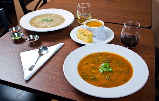 Fort Atkinson, WI: A sampling of soups: chicken pho, butternut squash with pear, and African peanut stew