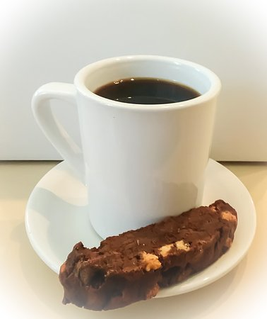 Fort Atkinson, WI: Triple chocolate biscotti with a cup of cofffee