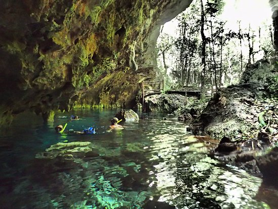 Edventure Tours: First cenote - half open and plenty of room to explore while you get used to your surroundings.
