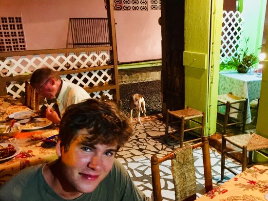 Laborie, Saint Lucia: On the patio of Mama Tilleys