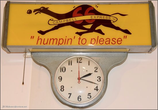 "Eureka, MO: 66 Campbell Express Clock, ""humpin' to please"", Inside Bridgehead Inn Visitor's Center"