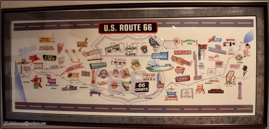 """Route 66 State Park: Route 66 Mural, """"Stops along the Way"""" Loaned by Kirk & Tina Johnson, Inside Bridgehead Inn Visit"""