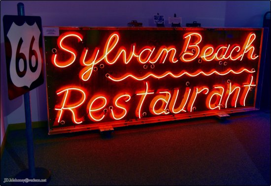 Route 66 State Park: Sylvan Beach Restaurant Neon Sign, Inside Bridgehead Inn Visitor's Center, MO West of Eureka