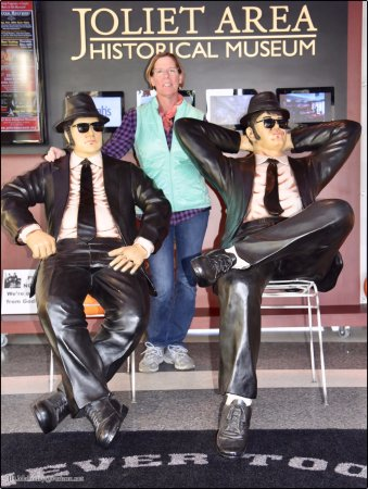 Deb with Blues Brothers, Joliet Museum, Route 66 Welcome Center, Joliet, IL