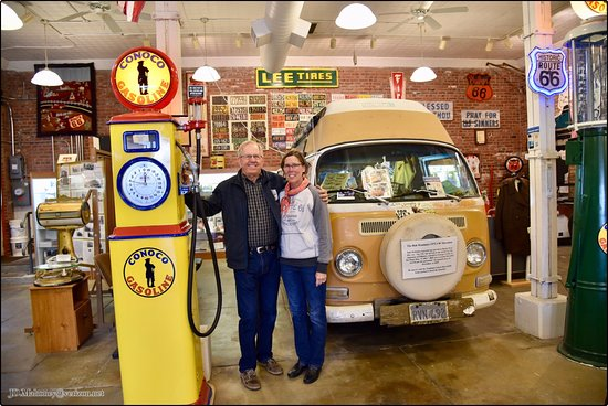 IL Route 66 Association Hall of Fame & Museum: John & Deb in front of 1972 Bob Waldmire Microbus, Route 66 Association Hall of Fame & Museum