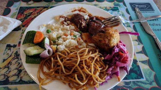 Tweed Heads, Australia: Stir fried noodle with salad and fried dim sim