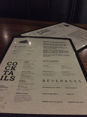 Emeryville, CA: Cocktail and drinks menu side at Branch Line