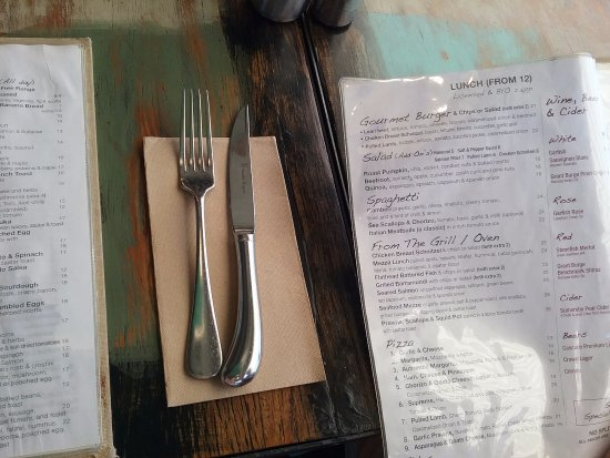Maroubra, Australia: Menu on table.