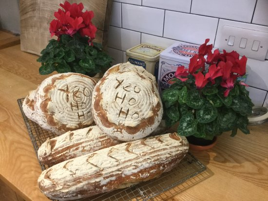 Blagdon, UK: Fresh from the oven. Sourdough Christmas Stylie