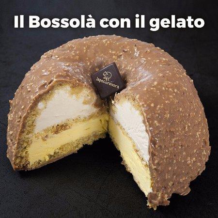Bedizzole, Italy: bossola farcito di semfreddo al caramello e crema con glassa al cioccolato croccante
