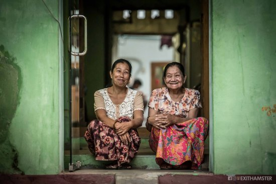 Pakokku, Myanmar: Front entrance with Kyi Kyi and Mya