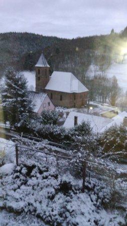 Chambres d'hôtes la Montagne Verte : La vue de notre chambre (Hortensia)