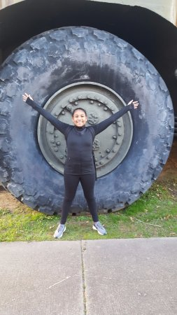 U.S. Army Transportation Museum: The tire of a tank compared to my 11 yr old