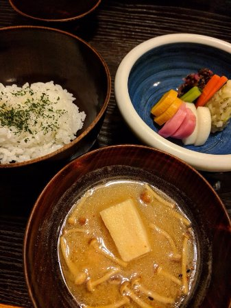 Bon: Green tea rice, traditional pickles, mushroom soup