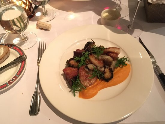 Cafe Beaujolais: Braised pork belly with sea scallops and yam puree