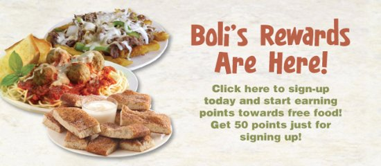 Ellicott City, MD: pizza boli's is now offering boli's rewards