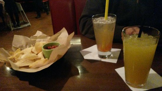 Joliet, IL: Chips & great salsa. Mango peach slush. Long island. French onion soup was hot and cheese was me