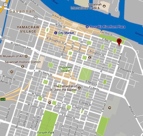 Map with Plaza Location fronting Savannah River - Picture of ...