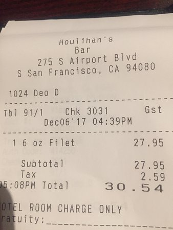 South San Francisco, CA: 30 bucks + tip for a 6 oz filet steak