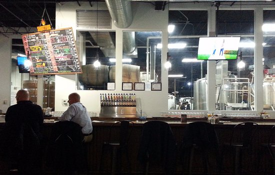 Schiller Park, IL: the bar and the brewing equipment behind it