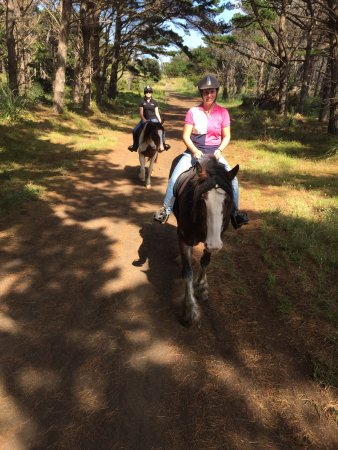 Muriwai Beach, Nueva Zelanda: Riding through the forest