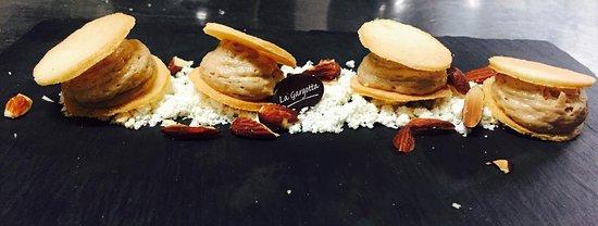 Castellucchio, Italy: Mousse di Castagne, cioccolato bianco e mandorle tostate...
