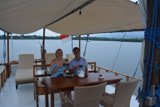 West Bali National Park, Indonesia: Enjoying our afternoon tea on the boat