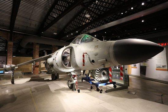 Patchway, UK: Harrier jump jet in main hanger