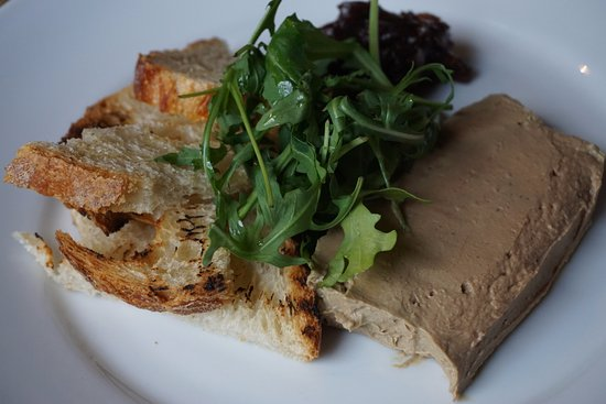 chicken liver bacon pate with charred sourdough