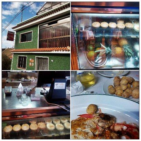 La Matanza de Acentejo, Spain: Entrada restaurante, mostrador de postres, cocina y uno de los platos de pescado que pedimos.