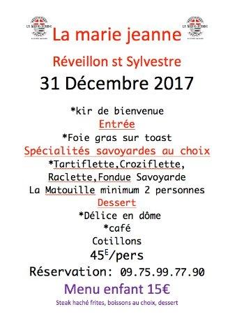 Allevard, فرنسا: menu réveillon 2017