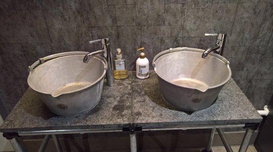 Lanark, UK: The sinks in the gents Toilet