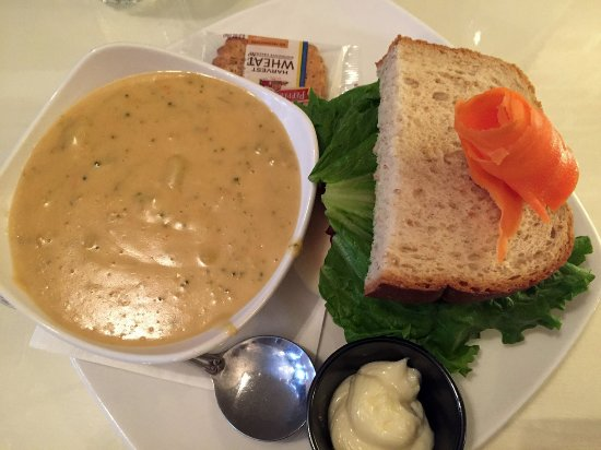 Greencastle, IN: broccoli soup and half club sandwich