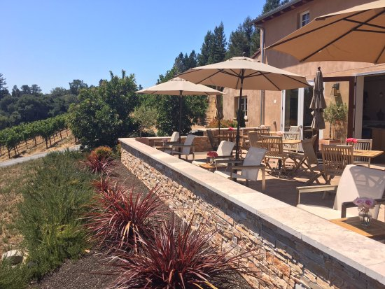 Sebastopol, Kalifornia: Patio overlooks the vineyard at Fog Crest Vineyard